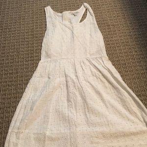 White eyelet dress, back zipper and side cutout